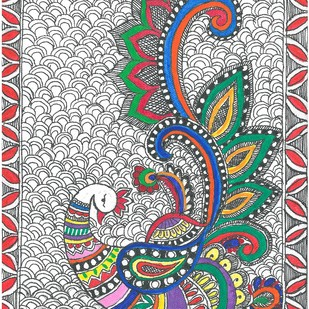 Madhubani - Mayur(Peacock) by Jyoti Mallick, Folk Painting, Acrylic & Ink on Canvas, Gray color