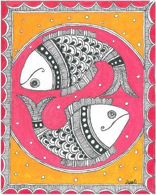 Madhubani - Fish couple Digital Print by Jyoti Mallick,Folk