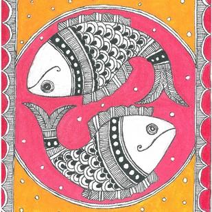 Madhubani - Fish couple by Jyoti Mallick, Folk Painting, Acrylic & Ink on Canvas, Pink color