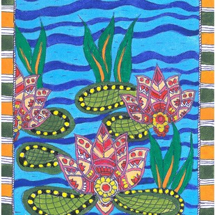 Madhubani - Lotus in the pond by Jyoti Mallick, Folk Painting, Acrylic & Ink on Canvas, Blue color