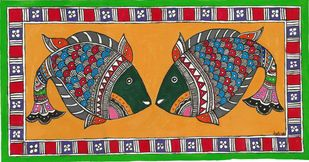 Madhubani - A Fish couple Digital Print by Jyoti Mallick,Folk