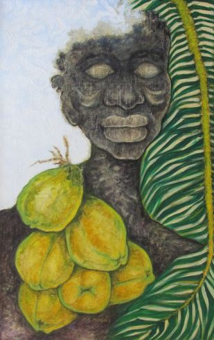 FACE OF A TRIBAL by Shivayogi Mogali, Expressionism Painting, Oil on Canvas, Green color