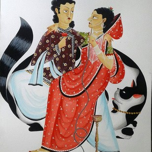 Babu Bibi and the Giant Cat by Bhaskar Chitrakar, Folk Painting, Natural colours on paper, Gray color