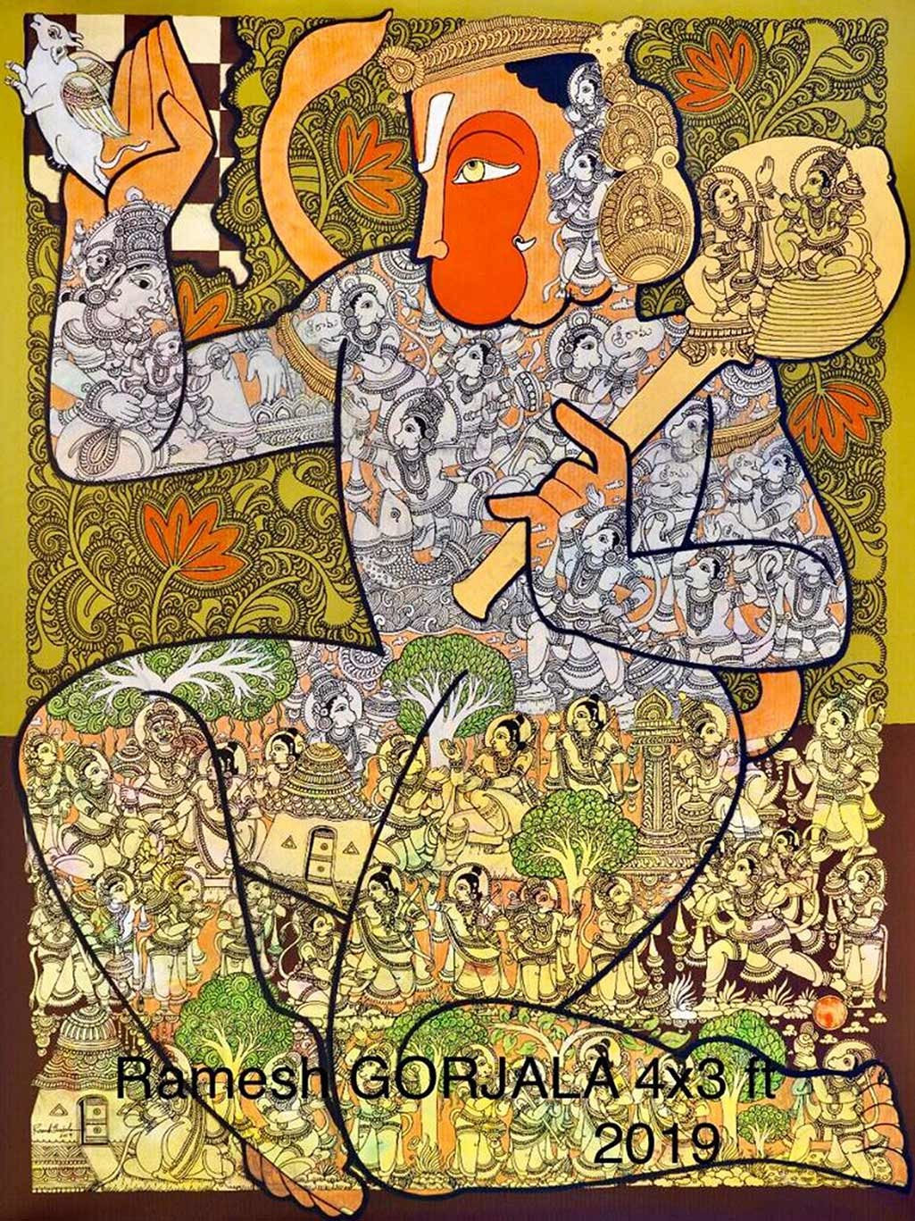 Untitled by Ramesh Gorjala, Traditional Painting, Acrylic on Canvas, Brown color