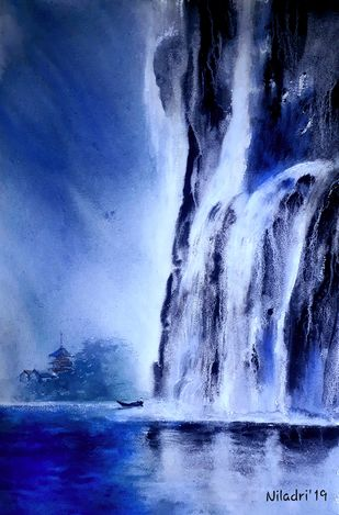 Rocks never regret the waterfalls by Niladri Ghosh, Impressionism Painting, Watercolor on Paper, Blue color