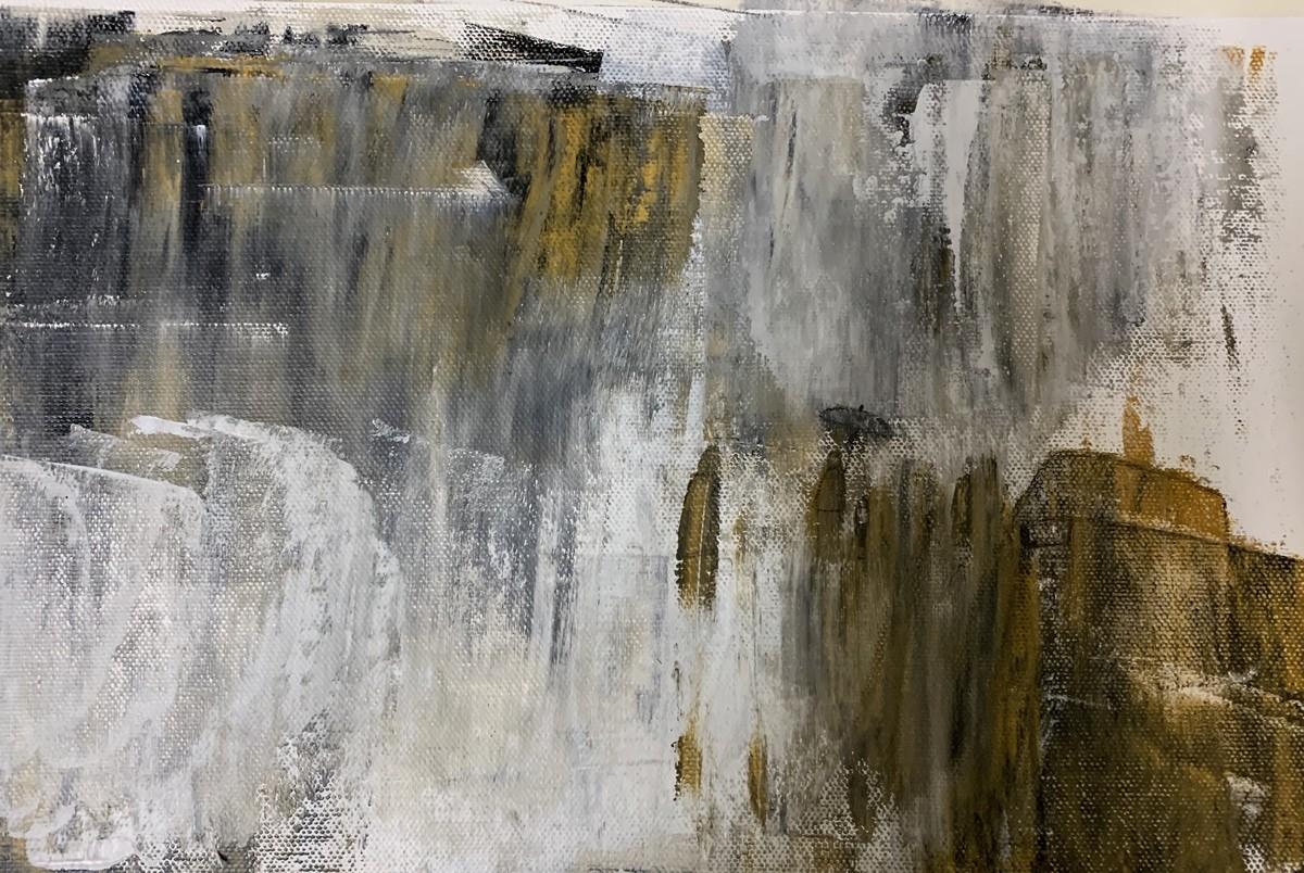 Cityscape- Rainy Season by Amit Pithadia, Abstract Painting, Acrylic on Canvas, Gray color