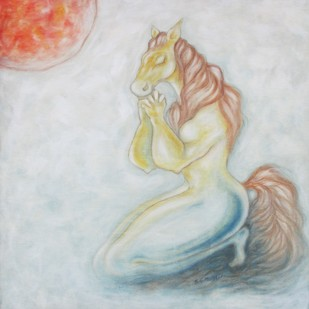 PRAYER by Shivayogi Mogali, Fantasy Painting, Oil on Canvas, Gray color