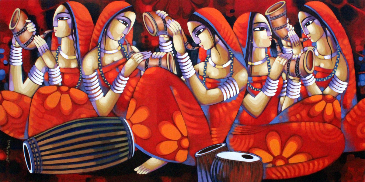 Symphony by Sekhar Roy, Decorative Painting, Acrylic on Canvas, Brown color