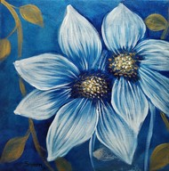 Brunnea by Shireen Malayya, Decorative Painting, Acrylic on Canvas, Blue color