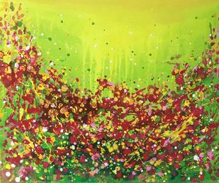 nature saga by shelja, Expressionism Painting, Acrylic on Canvas, Brown color