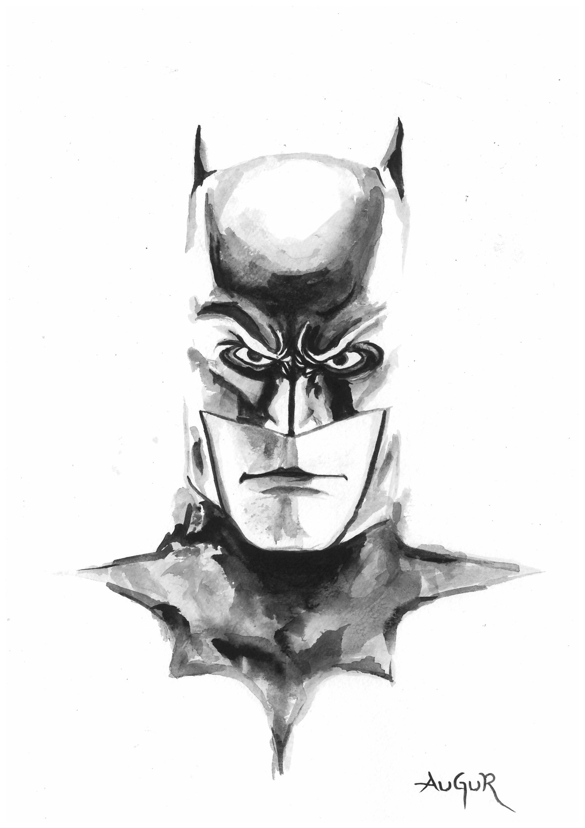 Batman by Augur, Illustration Painting, Watercolor on Paper, White color