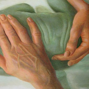 Caring Hands by Kamal Mitra, Realism Painting, Acrylic on Canvas, Brown color
