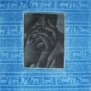 Thinker by Kamal Mitra, Expressionism Painting, Etching on Paper, Blue color