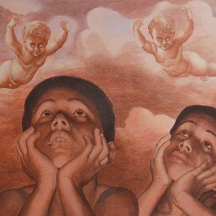 Lost Childhood by Kamal Mitra, Expressionism Painting, Acrylic on Canvas, Brown color