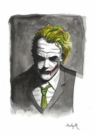 Joker Painting by Augur, Pop Art Painting, Watercolor on Paper, Gray color