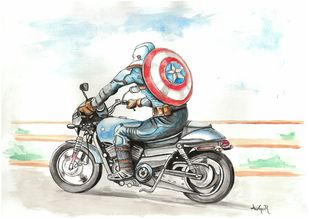 Captain America by Augur, Pop Art Painting, Watercolor on Paper, White color