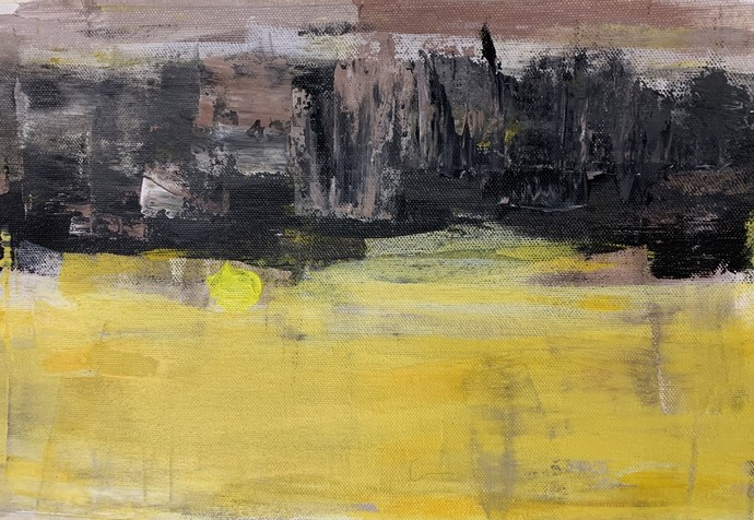 Gravity 2 by Amit Pithadia, Abstract Painting, Acrylic on Canvas, Beige color