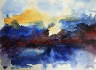 Abstract Himalayan Landscape by Rajesh Sunkara , Abstract Painting, Acrylic on Paper, Blue color