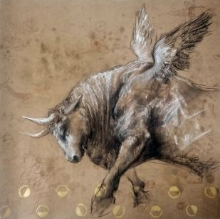 Brawny Bull 1 by Saumya Bandyopadhyay, Illustration Painting, Pastel on Paper, Brown color