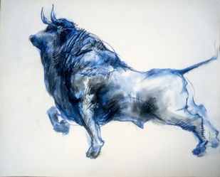 Brawny Bull 5 by Saumya Bandyopadhyay, Illustration Painting, Pastel on Paper, Gray color
