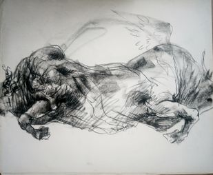 Brawny Bull 6 by Saumya Bandyopadhyay, Illustration Painting, Pastel on Paper, Gray color