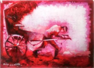 The Rickshaw Puller by Dilip Chaudhury, Impressionism Painting, Mixed Media on Canvas, Pink color