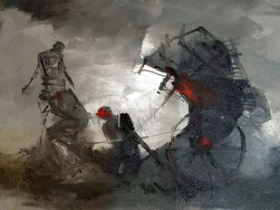 The Rickshaw Pullers by Dilip Chaudhury, Impressionism Painting, Mixed Media on Canvas, Gray color