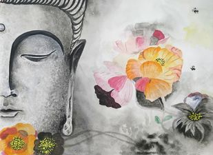 Dhyana Buddha Digital Print by Pritam Shaw,Decorative