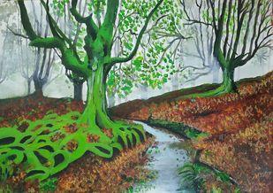 The Mystic Forest Digital Print by Pritam Shaw,Impressionism
