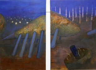 silluri form (diptych) by Astha Patel, Conceptual Painting, Oil on Canvas, Brown color