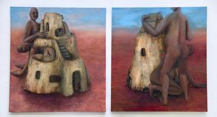 sereni hillock by Astha Patel, Conceptual Painting, Oil on Canvas, Brown color