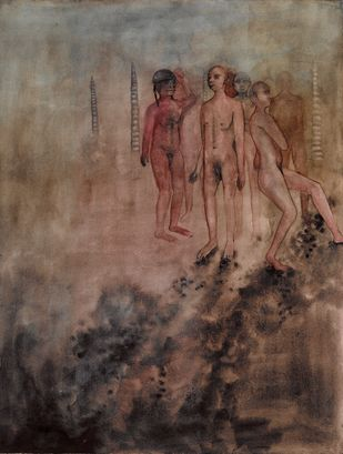 Evolution by Astha Patel, Conceptual Painting, Watercolor on Paper, Brown color