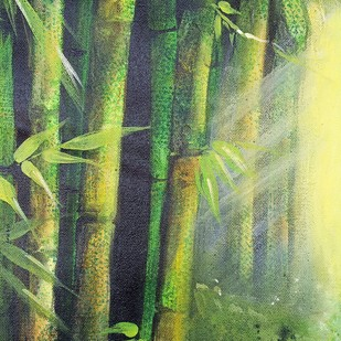MAGNIFICENT BAMBOOS by Arti Vohra, Expressionism Painting, Acrylic on Canvas, Green color