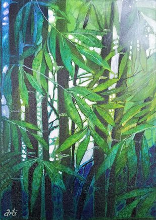 HUMILITY by Arti Vohra, Expressionism Painting, Acrylic on Canvas, Green color