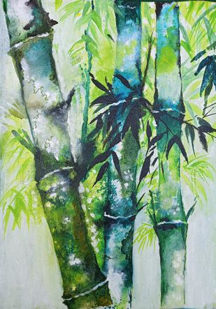 STRENGTH by Arti Vohra, Impressionism Painting, Acrylic on Canvas, Green color