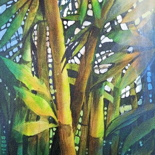 BAMBOO GREENS by Arti Vohra, Expressionism Painting, Acrylic on Canvas, Green color