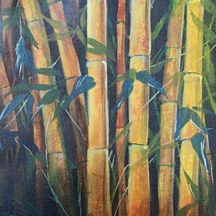 BAMBOO FOREST by Arti Vohra, Expressionism Painting, Acrylic on Canvas, Brown color