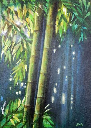 LUCKY BAMBOO by Arti Vohra, Expressionism Painting, Acrylic on Canvas, Green color
