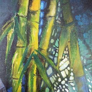 MAGNIFICENT BAMBOOS-II by Arti Vohra, Expressionism Painting, Acrylic on Canvas, Green color