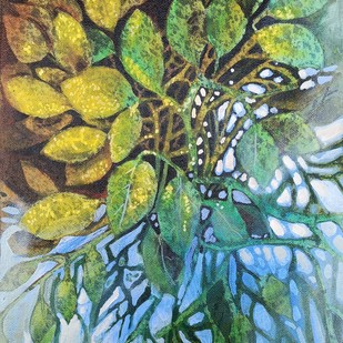 AUTUM WAIT by Arti Vohra, Expressionism Painting, Acrylic on Canvas, Green color