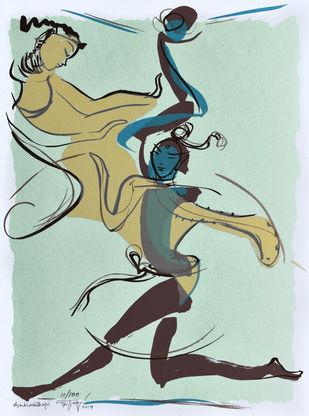 Ambikanthaya by Jatin Das, Expressionism Printmaking, Serigraph on Paper, Cyan color