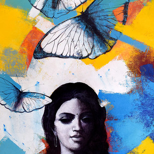 She_11 by Kishore Pratim Biswas, Expressionism Painting, Acrylic on Canvas, Blue color