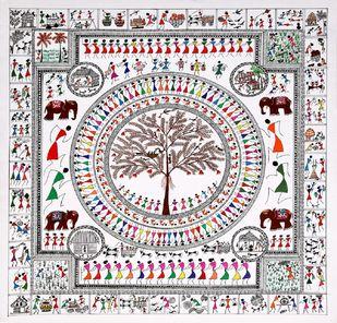 ANCIENT WARLI ARTS ECCENTRICALLY ON HANDMADE PAPER by HARPREET KAUR PUNN, Folk Painting, Acrylic on Paper, Gray color