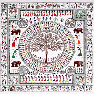 ANCIENT WARLI ARTS ECCENTRICALLY ON HANDMADE PAPER by HARPREET KAUR PUNN, Folk Painting, Acrylic on Paper, Gray color