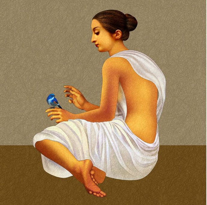 Lady with the Little Blue Bird by Amiya Bhattacharya, Realism Painting, Mixed Media on Canvas, Beige color