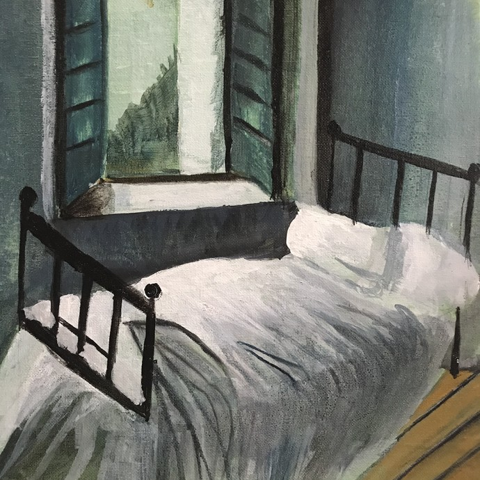 Bed by the window by Nahid Aamina Sowkath, Expressionism Painting, Acrylic on Canvas, Gray color