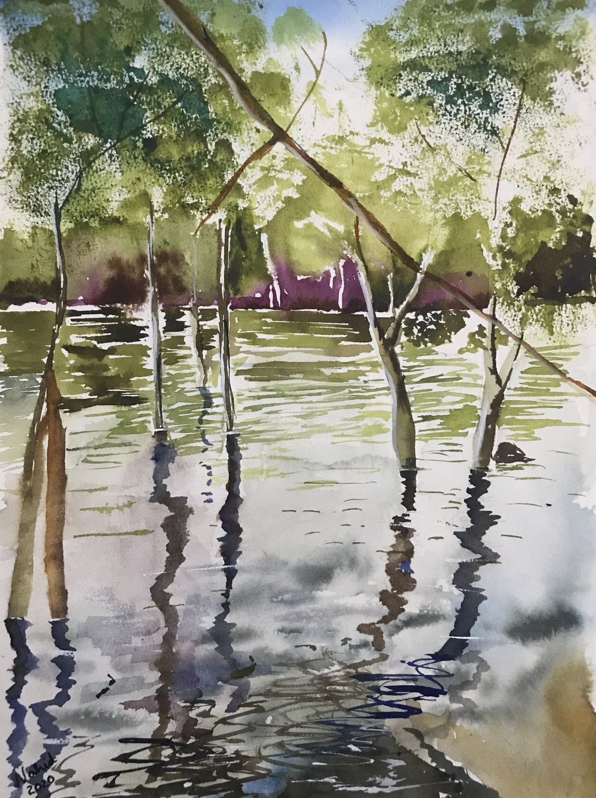 Watercolor painting - Mangrove forest by Nahid Aamina Sowkath, Impressionism Painting, Watercolor on Paper, Beige color