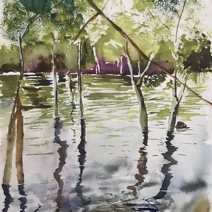 Watercolor painting - Mangrove forest Digital Print by Nahid Aamina Sowkath,Impressionism