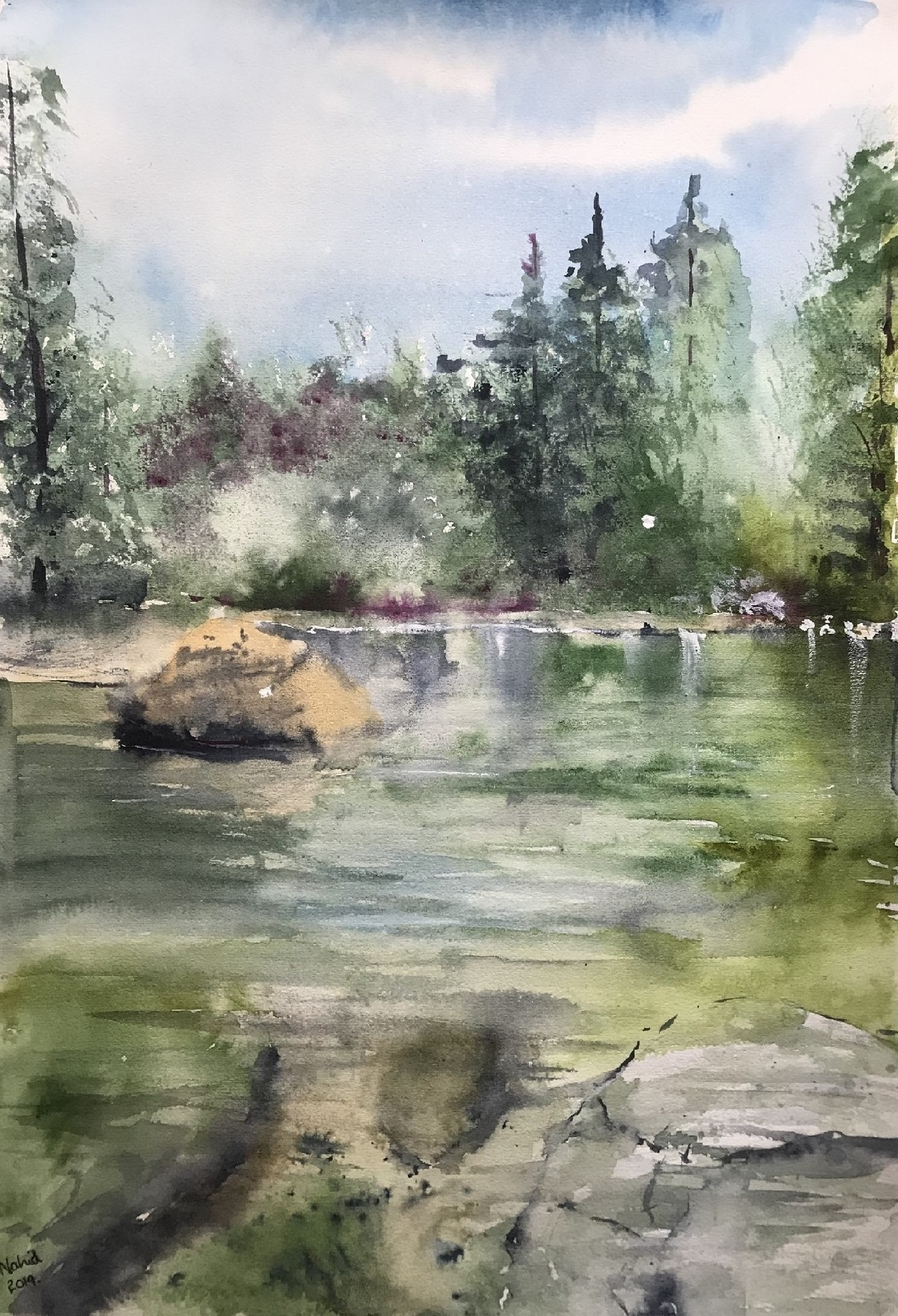 Calming waters by Nahid Aamina Sowkath, Impressionism Painting, Watercolor on Paper, Gray color
