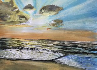 Sunset scene by the beach Digital Print by Nahid Aamina Sowkath,Impressionism